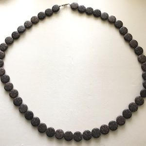 NECKLACE FASHION BROWN GRAY STONE LOOK BEADS